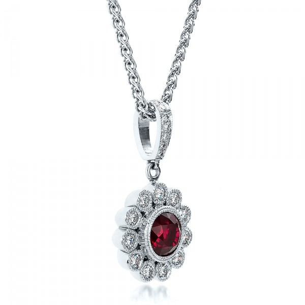 Custom Ruby and Diamond Pendant - Laying View