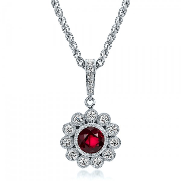 Custom Ruby and Diamond Pendant