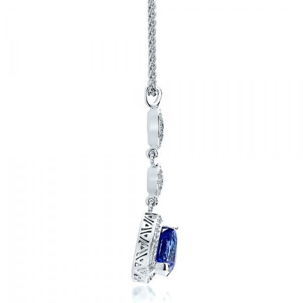 Blue Sapphire and Diamond Pendant - Side View
