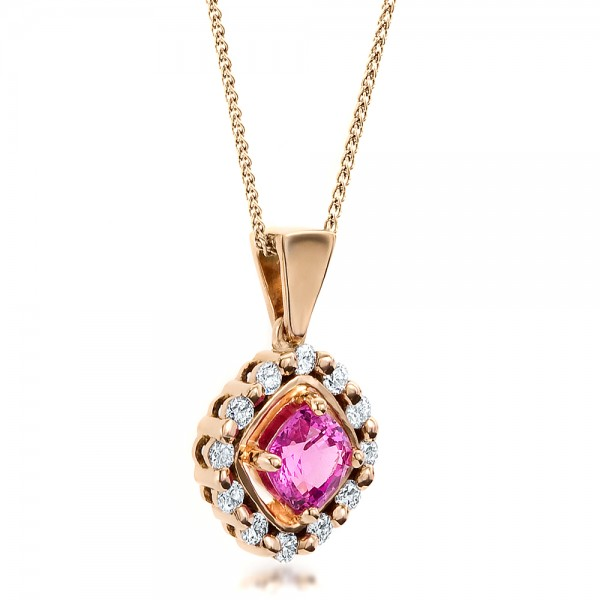 Custom Pink Sapphire and Rose Gold Pendant - Laying View