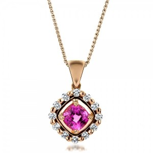 Custom Pink Sapphire and Rose Gold Pendant