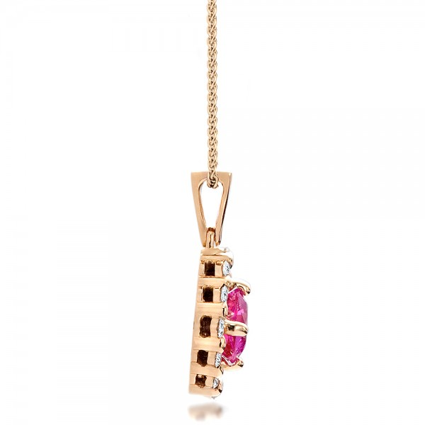 Custom Pink Sapphire and Rose Gold Pendant - Side View