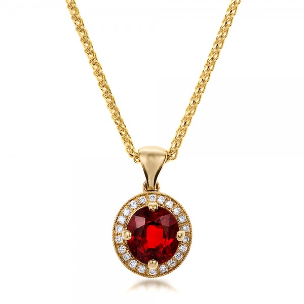 Custom Red Sapphire and Diamond Halo Pendant