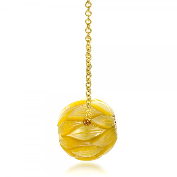 Carved Golden Pearl and Diamond Pendant - Side View