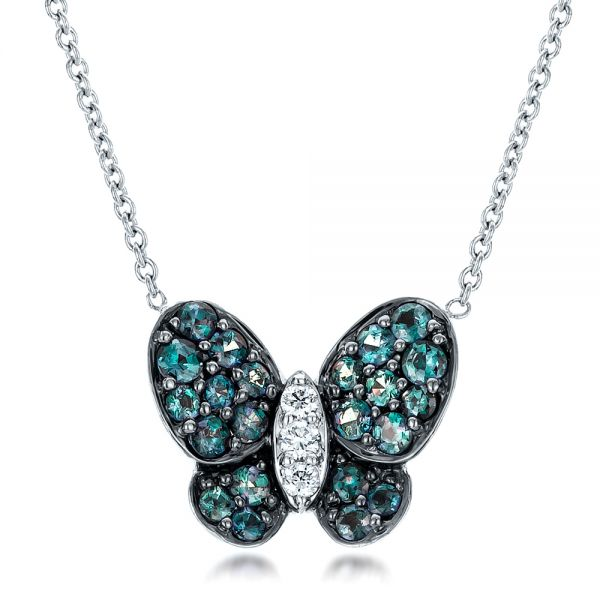 Alexandrite and Diamond Butterfly Pendant