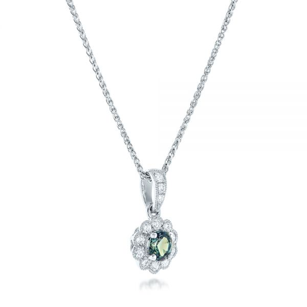 Alexandrite and Diamond Halo Pendant - Flat View -  102514 - Thumbnail