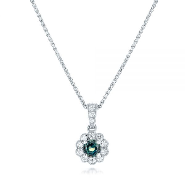 Alexandrite and Diamond Halo Pendant - Image