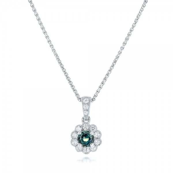 Alexandrite and Diamond Halo Pendant