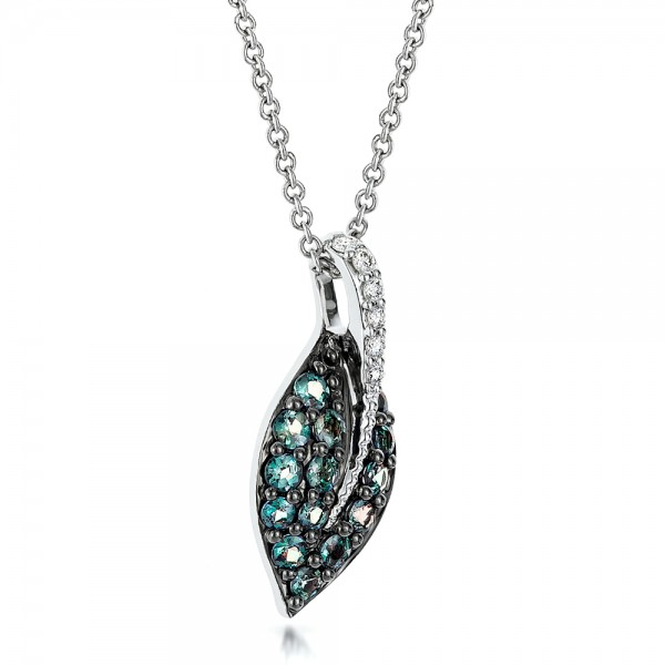 Alexandrite and Diamond Leaf Pendant - Laying View
