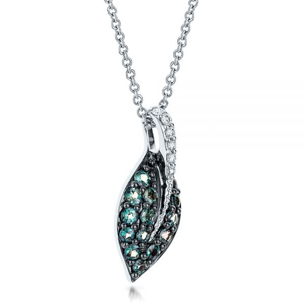 18k White Gold Alexandrite And Diamond Leaf Pendant - Flat View -