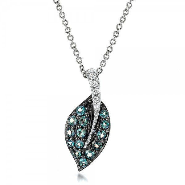 Alexandrite and Diamond Leaf Pendant