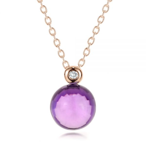 Amethyst Cabochon and Diamond Pendant - Image