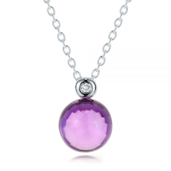Amethyst Cabochon and Diamond Pendant