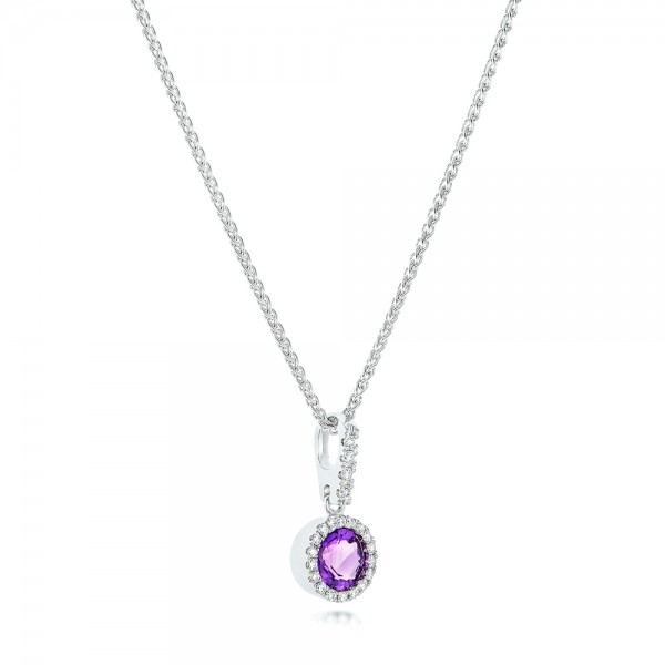 Amethyst and Diamond Halo Pendant - Laying View