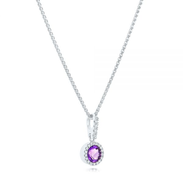Amethyst And Diamond Halo Pendant - Flat View -  102650