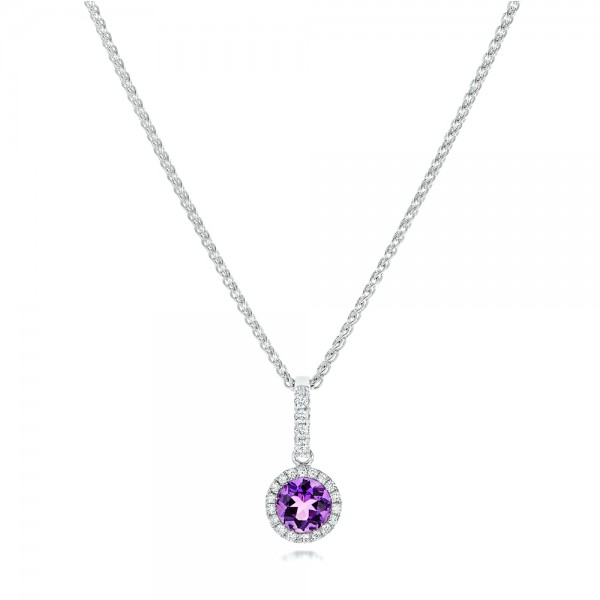 Amethyst and Diamond Halo Pendant