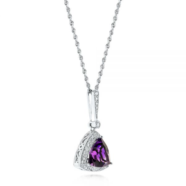 14k White Gold Amethyst And Diamond Pendant - Front View -