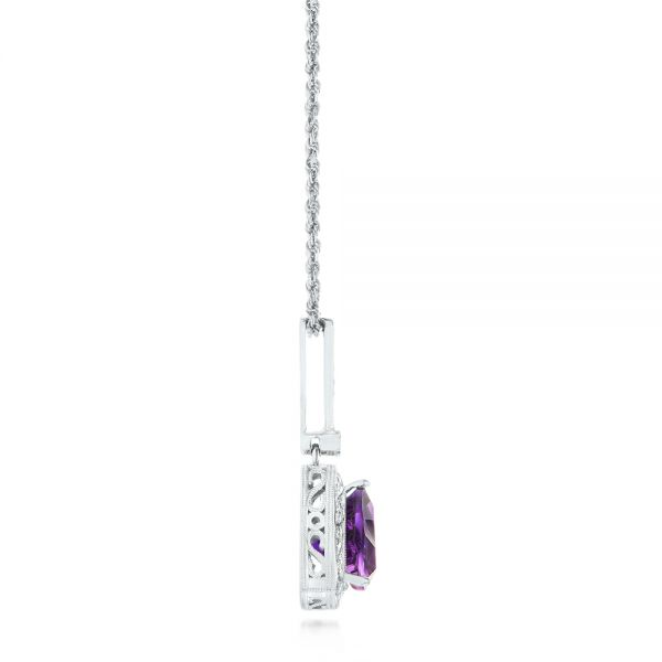 14k White Gold Amethyst And Diamond Pendant - Side View -