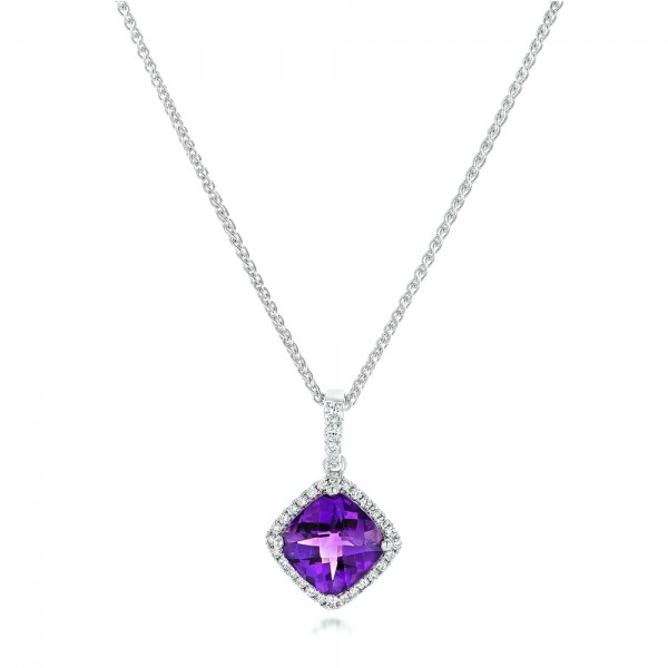 Amethyst and Diamond Pendant - 3/4 View
