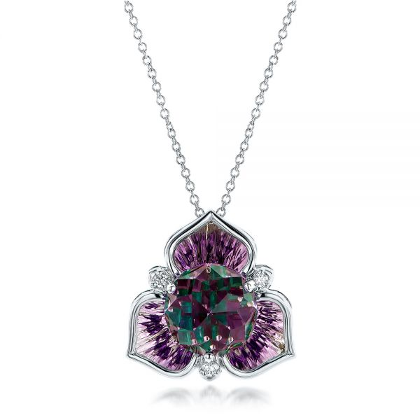 Amethyst and White Gold Pendant - Image