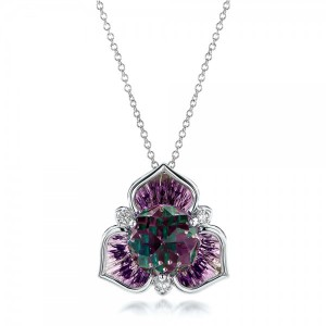 Amethyst and White Gold Pendant
