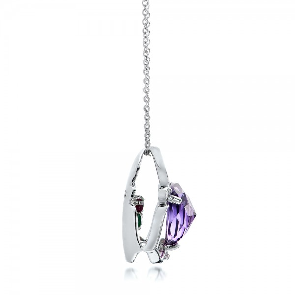 Amethyst and White Gold Pendant - Side View