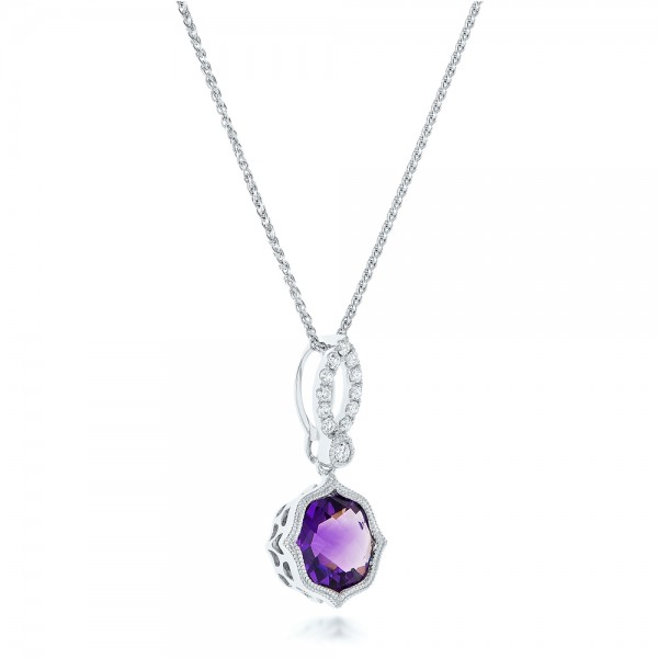 Amethyst and Diamond Pendant - Laying View