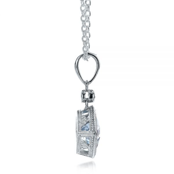 Antique Cushion Aquamarine And Diamond Pendant - Side View -