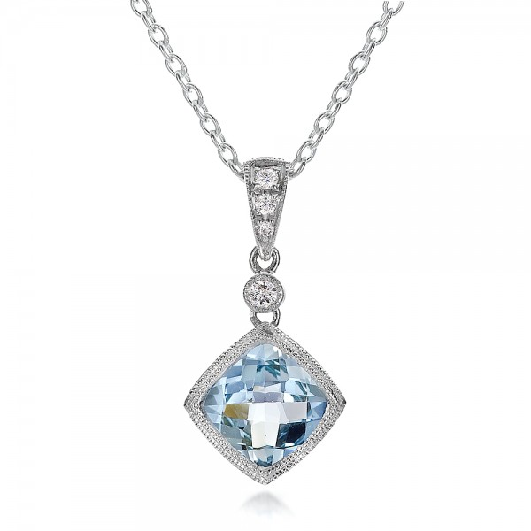 Antique Cushion Aquamarine and Diamond Pendant