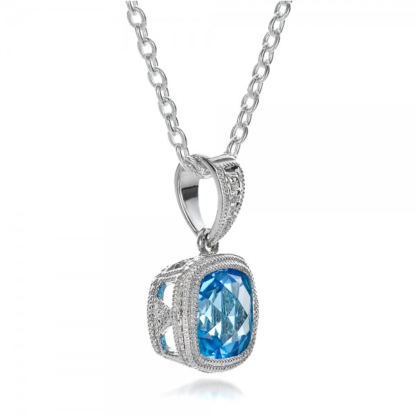 Antique Cushion Blue Topaz Pendant - Laying View