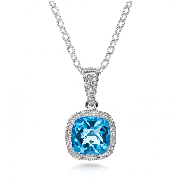 Antique Cushion Blue Topaz Pendant
