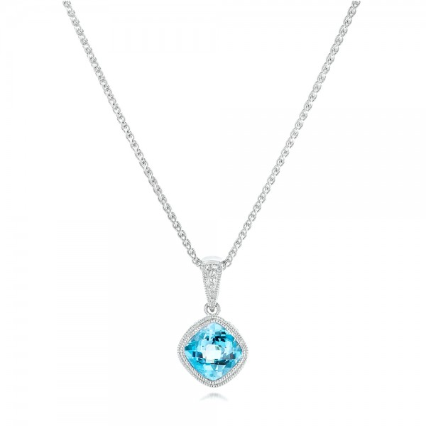 Blue Topaz Pendant - Three-Quarter View -  102611 - Thumbnail