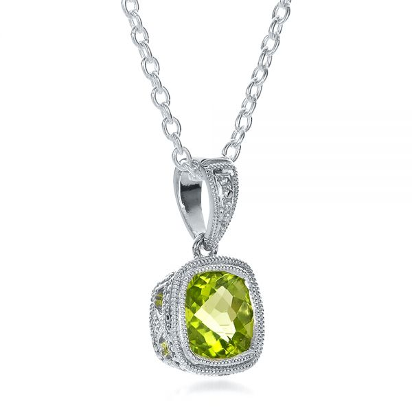 Antique Cushion Peridot Pendant - Flat View -  100495