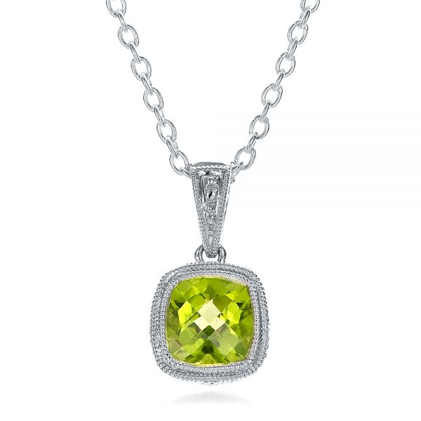 Antique Cushion Peridot Pendant - Three-Quarter View -  100495