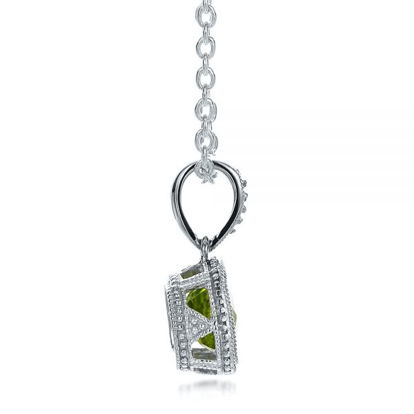 Antique Cushion Peridot Pendant - Side View -  100495