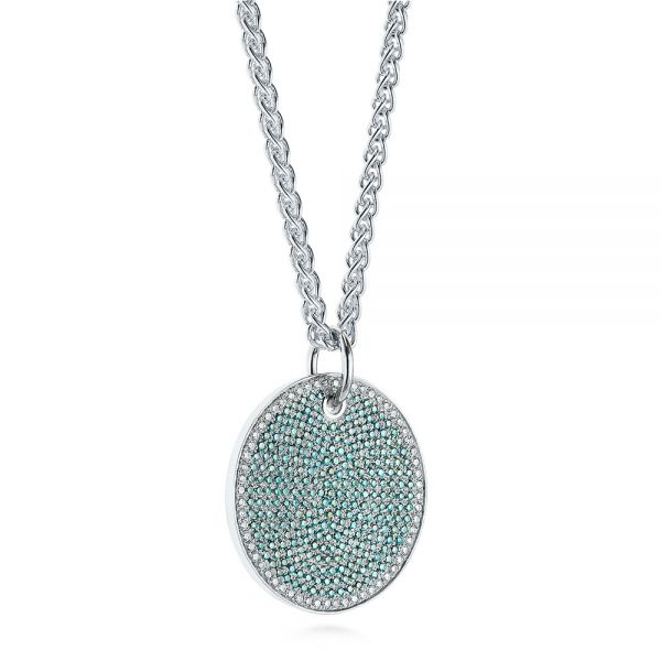 14k White Gold Aqua Blue And White Round Diamond Pendant - Flat View -