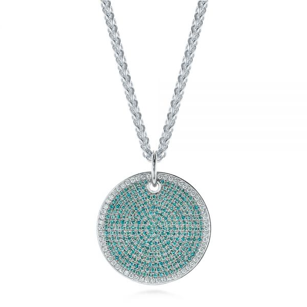 14k White Gold Aqua Blue And White Round Diamond Pendant - Three-Quarter View -