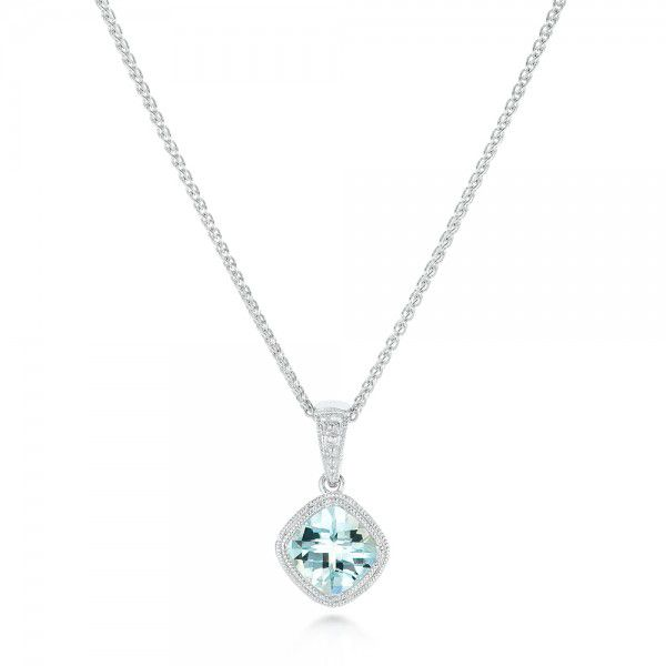 Aquamarine Pendant - Three-Quarter View -  102634
