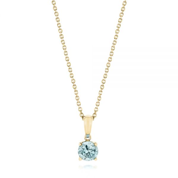 14k Yellow Gold 14k Yellow Gold Aquamarine Pendant - Three-Quarter View -  103706