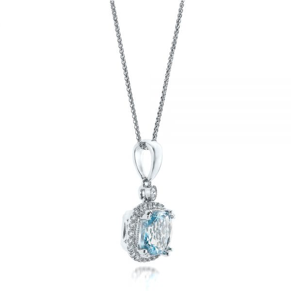 14k White Gold Aquamarine And Diamond Halo Pendant - Flat View -  101014