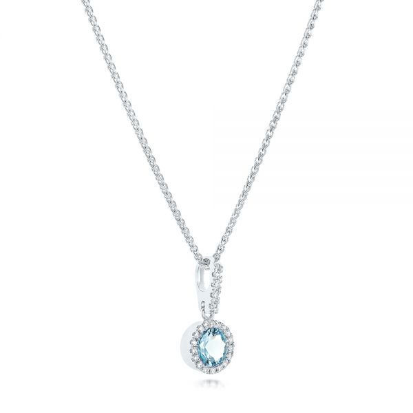 Aquamarine And Diamond Halo Pendant - Flat View -  102633
