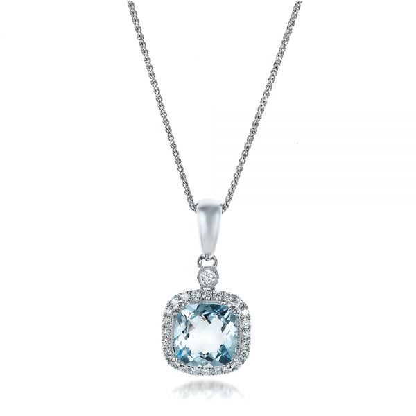 14k White Gold Aquamarine And Diamond Halo Pendant - Three-Quarter View -  101014