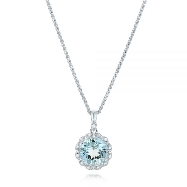 Aquamarine and Diamond Halo Pendant - Image