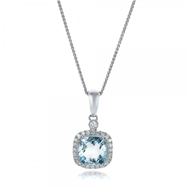 Aquamarine and Diamond Halo Pendant