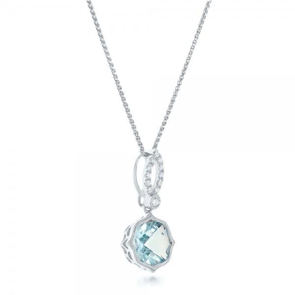 Aquamarine and Diamond Pendant - Laying View