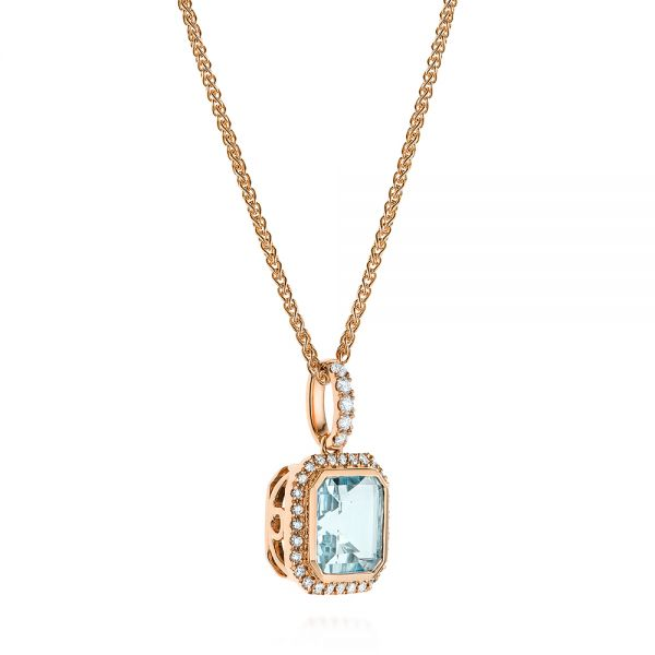 18k Rose Gold 18k Rose Gold Aquamarine And Diamond Pendant - Flat View -