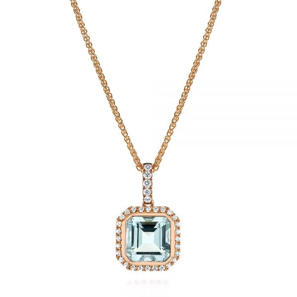 18k Rose Gold 18k Rose Gold Aquamarine And Diamond Pendant - Three-Quarter View -
