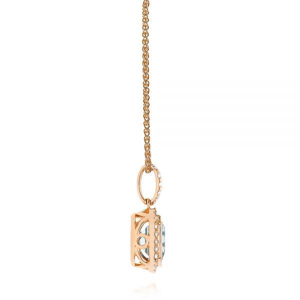 18k Rose Gold 18k Rose Gold Aquamarine And Diamond Pendant - Side View -