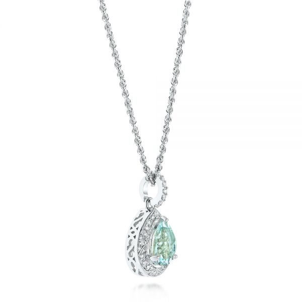 14k White Gold Aquamarine And Diamond Pendant - Front View -