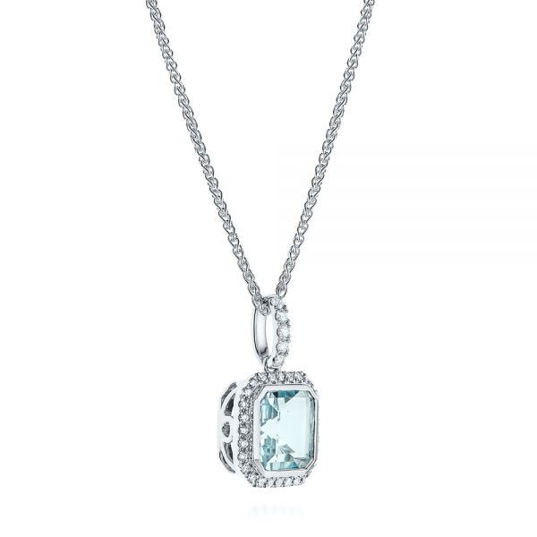 14k White Gold Aquamarine And Diamond Pendant - Flat View -  105443